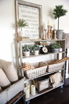 DIY Rolling Bookshelf -painted with Franciscan Gray, Maison Blanche with dark wax over gray
