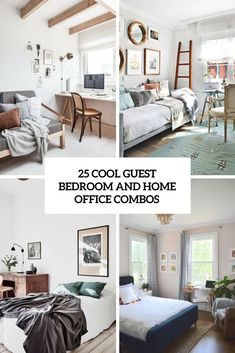 25 Cool Guest Bedroom And Home Office Combos. cool guest bedroom and home office combos cover. Not all people has a big home and if you happen to face the issue of lack of house, combining the areas is a superb concept to unravel it. Guest Bedroom Home Office, Bedroom Office Combo, Home Office Space, Guest Bedrooms, Home Office Decor, Home Decor, Office Ideas, Spare Room Office, Modern Retro