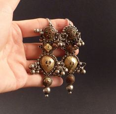 Indian Rajasthani old earrings called Pupat by ethnicadornment