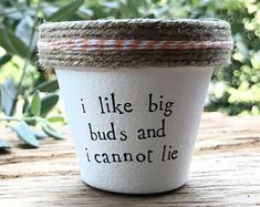 I Like Big Buds and I Cannot Lie Plant Indoor and Outdoor Pot or Plante Painted Flower Pots, Painted Pots, Container Water Gardens, Container Gardening, Outdoor Pots, Outdoor Gardens, Garden Crafts, Garden Projects, Clay Pot Crafts