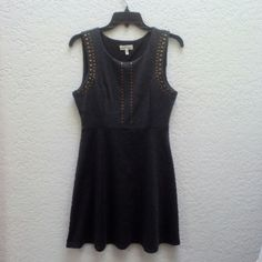 Monteau Charcoal Gray Skater Dress with Gold Studs Monteau brand from Nordstroms, size medium, in perfect condition! Worn once for a wedding. Color is a dark charcoal gray and gold studs line the sleeves and center chest. Please ask any and all questions before purchasing. Thanks! Monteau Dresses