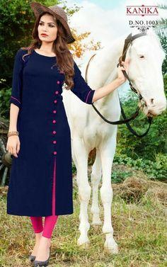 Kurti - Kanika Navy Colour Heavy Rayon Kurti for Wmen & Girl Plain Kurti Designs, Silk Kurti Designs, Salwar Neck Designs, Churidar Designs, Kurta Neck Design, Dress Neck Designs, Stylish Dress Designs, Kurta Designs Women, Sleeves Designs For Dresses
