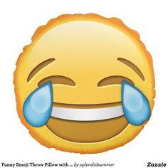 Funny Emoji Throw Pillow with laughing emoji