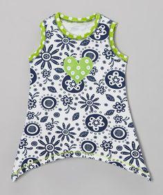 White & Navy Flower Sidetail Tunic - Toddler & Girls