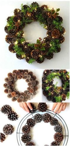 Super easy and festive DIY wreath made with jingle bells and red fabric! Perfect Super easy and festive DIY wreath Christmas Wreaths To Make, How To Make Wreaths, Christmas Crafts, Holiday Wreaths, Winter Wreaths, Advent Wreaths, Christmas Decorations Pinecones, Mesh Wreaths, Pinecone Decor