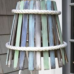 Hanging Lamp Made from Paint Stirs