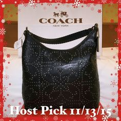 """Coach Celeste Convertible Hobo Studded Leather Bag NWTs Authentic Coach Celeste Black Convertible Hobo Studded Leather Bag.  Comes with detatchable longer strap with 22-29"""" adjustable drop for crossbody or sholder wear. Three inside pockets consists of 1 large zip pocket on one side & 2 cell phone/multi function pockets on other side.  Details: Zip closure, 11"""" Strap drop, 14 1/4"""" (L) x 12 1/2"""" (H)x 4 3/4"""" (W). MSRP:  $895, but due to min imperfections on back w/ barely visible scuff…"""