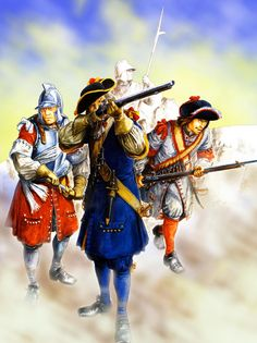 French musketeers of the Fustenberg and Lyonnais Regiments in battle during one of King Louis XIV's wars