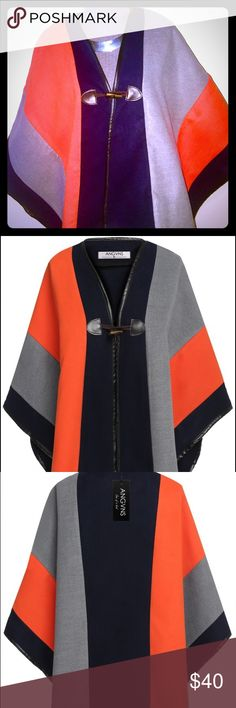 NEW ITEMFall/Winter Color Block Poncho & Wrap I absolutely LOVE this poncho/ wrap!  It's very soft & quiet warm. Perfect for chilly days or nights. Fasten the horn button and wear it as a poncho...Or...Leave it unbuttoned and wear it as a wrap.   Material: Wool Blend  Colors: Orange, Navy, Gray, Black Faux Leather trim Collar: V Neck  Style: Fashion  Fastening: Single Horn Button  Coat Length: Irregular  Pattern: Colorblock Garment Care: Hand-wash and Machine washable, Dry Clean Jackets…