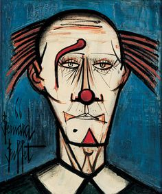 Bernard Buffet - Tète de Clown, Oil on canvas. Seabrook Texas, Send In The Clowns, Muse Art, Pin Art, Magazine Art, Old Pictures, Artist At Work, Les Oeuvres, Painting & Drawing