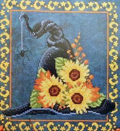Exquisite Sharon Pope WITCH'S HAT with SUNFLOWERS Halloween Design - Counted Cross Stitch Pattern Chart. $5.75, via Etsy.