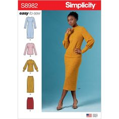 Misses Knit Two Piece Sweater Dress, Tops and Skirts Simplicity Sewing Pattern 8982.