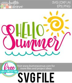 #summersvg #summertimesvg #hellosummersvg #silhouettecameo #silhouette #cricutexplore #cricutmaker So many possibilities of DIY projects with this Free Hello Summer SVG File. Make signs, pillows, t-shirts and more for with this Free Hello Summer SVG file. Free Hello Summer Ai, SVG, PNG, EPS & DXF download. Free Hello Summer SVG files works with Cricut, Cameo Silhouette and other major cutting machines.