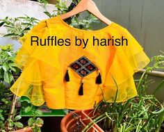 Image may contain: possible text that says 'Ruffles by harish Jruz' Fancy Blouse Designs, Saree Blouse Designs, Blouse Patterns, Wedding Sutra, South Indian Bride, Ruffles, Ruffle Blouse, Bridal, Sleeves