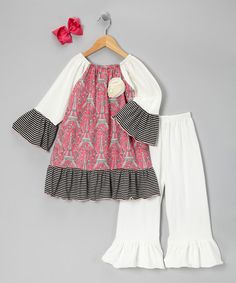Take a look at this Fuchsia Eiffel Tower Peasant Tunic Set - Girls by Million Polkadots on #zulily today!