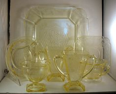 Soft Yellow Depression Glass Dinnerware