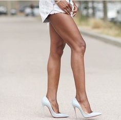 White High Heels, Sexy High Heels, Sexy Legs And Heels, Dress And Heels, Nice Legs, Beautiful Legs, Beautiful High Heels, Nylons Heels, Stockings Legs