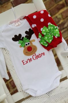 Reindeer Onesie OR Shirt for Girls -- Pretty Reindeer -- red and apple green -- Miss Reindeer wears her own bow on Etsy, $28.00