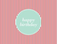 Red Pinstripe Birthday by Kelp Designs on Postable.com