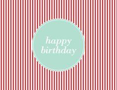 Red Pinstripe Birthday by Kelp Designs on Postable.com