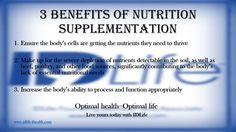 Is Supplementation Right For You? Read more at www.idlife4health.com