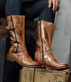 fca46fe189a 295 BED STU LEATHER GOGO LUG TALL MOTO BOOTS IN TAN RUSTIC SIZE 6 5 NEW