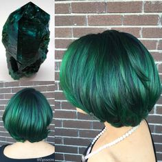 Black Bob With Emerald Green Highlights                                                                                                                                                                                 More