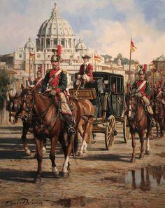 Durante la Proclamación de la República de Italia en 1849  El Regimiento de Caballería España, 9º de Caballería escoltando al Papa Pio IX, formada por una Sección de Lanceros al mando del Ayudante D. Manuel de Sousa.   Obra de Augusto Ferrer-Dalmau