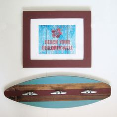 Turquoise and Red Wood Surfboard Coat Rack 28 by ProjectCottage, $69.00    @haleyellenburg