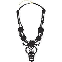 Black Beaded Necklace ($22) ❤ liked on Polyvore featuring jewelry, necklaces, beading necklaces, chain necklaces, beaded jewelry, bead jewellery and beading jewelry