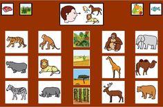 MATERIALES - Tableros de Comunicación de 12 casillas.    Tablero de comunicación de doce casillas sobre animales salvajes.    http://arasaac.org/materiales.php?id_material=224