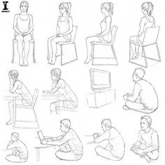 a character sitting. Whether you're lounging in a chair or sitting on the floor, there are a lot of ways to draw a character sitting! I'm a fan of curling up in a comfy armchair. Art from Drawing Manga: People and Poses. Day 7 of Posture Drawing, Drawing Body Poses, Drawing Reference Poses, Chair Drawing, Human Figure Sketches, Human Figure Drawing, Figure Sketching, Manga Posen, Sitting Pose Reference