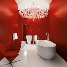 Bathroom, Laufen Red Bathroom White Bathup Chair Wooden Flooring Wall Chandelier Stainless Faucet: Excellent, Beautiful and Relaxing Bathroom Design Ideas