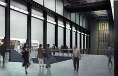 An architectural concept view of the new ground level route through the Turbine Hall