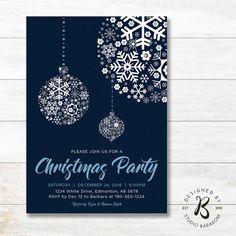 Christmas Invitation, Holiday Party Invitation - Blue & Navy by #studioBaraBom #BaraBom_Invitation
