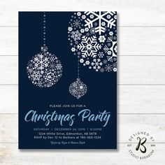 Christmas Invitation, Holiday Party Invitation - Blue & Navy by #studioBaraBom #BaraBom_Invitation