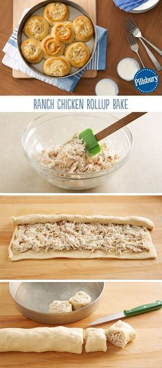 This recipe is sure to be a family favorite: Ranch Chicken Rollup Bake. You're only 5 delicious ingredients and 20 minutes prep away from a easy dinner. 2 Cup Chicken,3 Tbsp. Onion, 1/2 cup Ranch Mix, Cresent Rolls.We recommend serving with a side salad.: