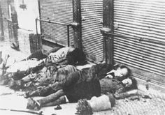 """A Jewish family killed by Romanian Nazi Collaborators during the Iaşi (Jassy) pogrom.  In 1941 Romanian dictator Ion Antonescu ordered that the city of Iaşi be """"cleaned of its Jewish population"""".   As a result, over 13,000 Jews were slaughtered."""