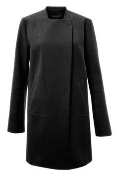 Collarless French Connection Simply Divine Black Coat