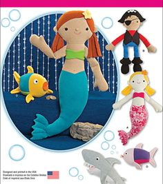 Simplicity Patterns Us1131Os-Simplicity Stuffed Mermaid, Pirate, Shark And Fish-One Size