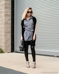 City chic by petite style blogger AnnRobieFashion: Grey shirt Mango, faux leather leggings, BCBGeneration silver heels, Calvin Klein quilted bag; fall street style