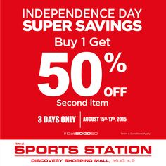 Celebrate our Independence Day with @MAPActive #GetBOGO50 promo! 3 days only!15 – 17 August 2015