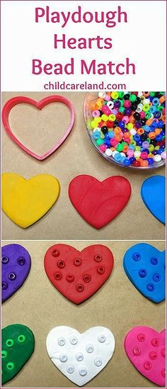 Playdough Hearts Bead Match ... put the matching color beads on the playdough hearts.