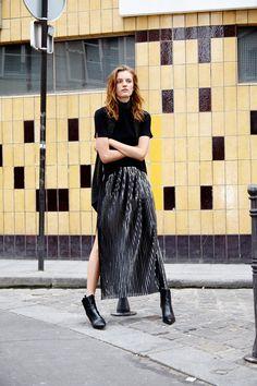 ZARA - EDITORIALS - Look 9, plooirok, zilver, silver skirt, maxi skirt, splits