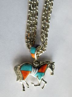 SOLD $65.00 Turquoise Multi Color Inlay 925 Sterling Silver HORSE Pendant NECKLACE by feathersoup on Etsy