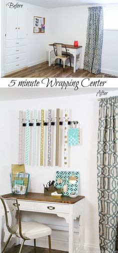 It's functional wall decor! :) Hang up this easy clamp wall organizer and add wallpaper, and done!