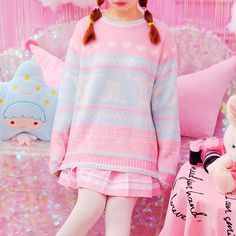 Sweet Teddy Bear Heart Knitted Sweater sold by Tony Moly Store. Harajuku Fashion, Kawaii Fashion, Lolita Fashion, Cute Fashion, Fashion Outfits, Fashion Women, Pastel Outfit, Pink Outfits, Pretty Outfits