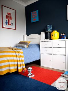 Transforming a kid's bedroom using key pieces from IKEA, The Rug Seller and Made.com and accessorising with blue and red colours. Makeover, styling challenge. BLOX RUG, Steel Symphony 1 by Dulux