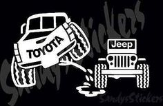 Toyota Peeing On Jeep Sticker Decal - Tundra Tacoma 4Runner FJ ...