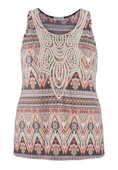 plus size lightweight tank in ethnic print with crochet (original price, $29) available at #Maurices